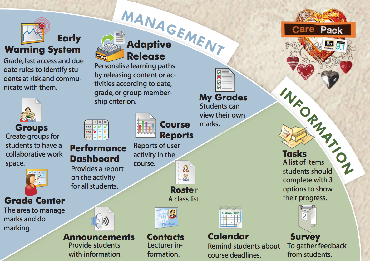 Posters showing Management and Information features in Blackboard 9.1