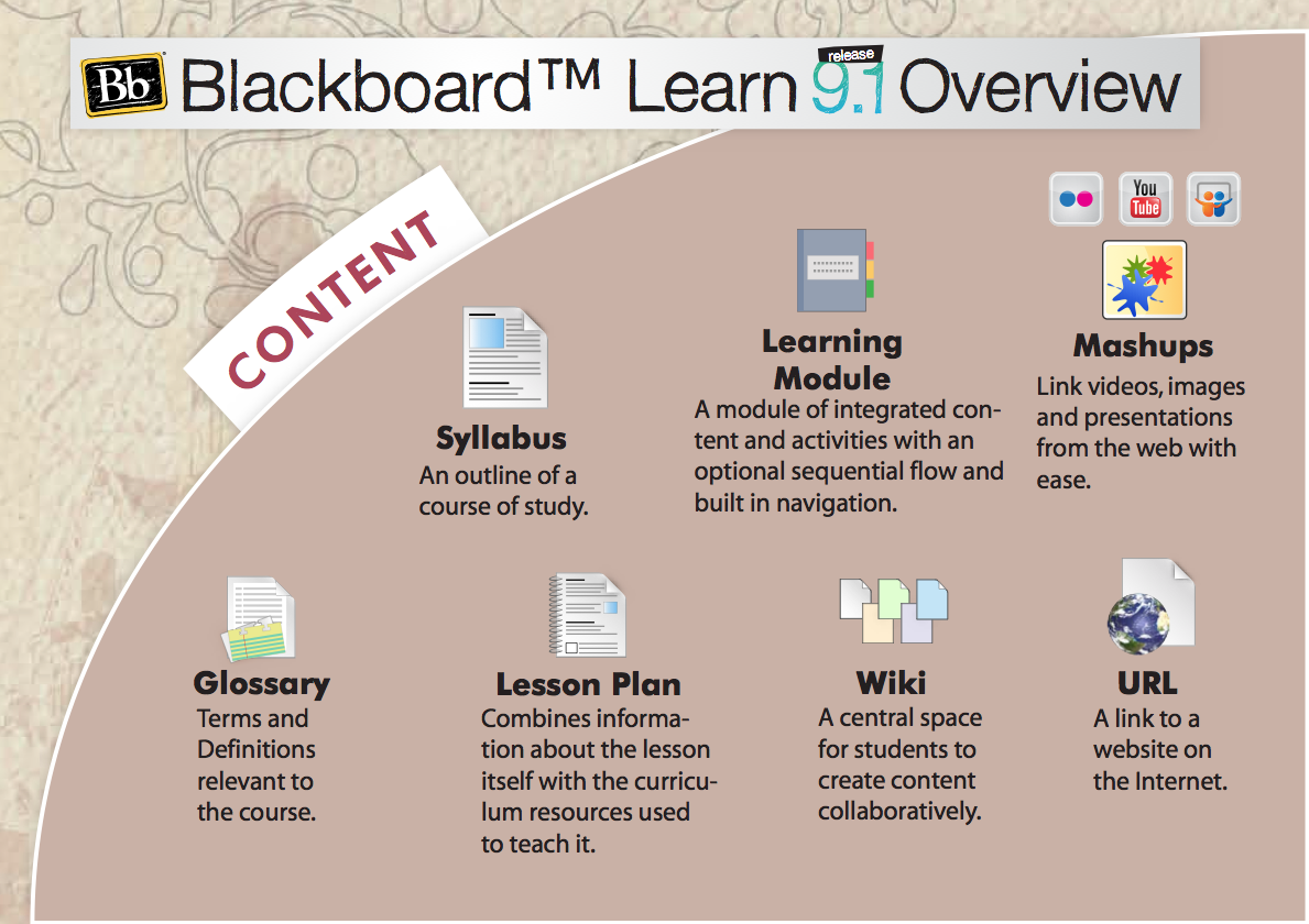 Poster showing content features in Blackboard 9.1