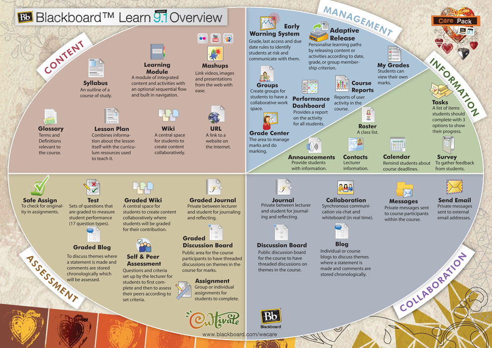 Diagram showing all features of Blackboard