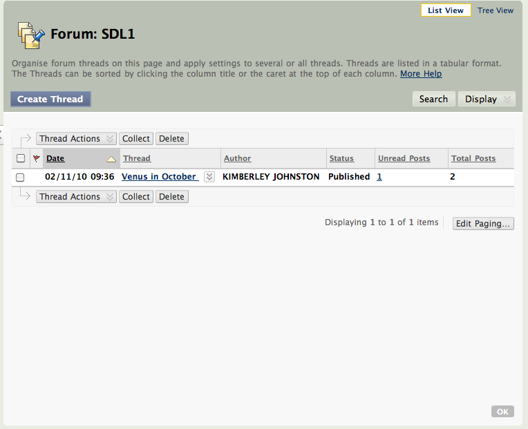 Screen shot of a forum in discussion boards