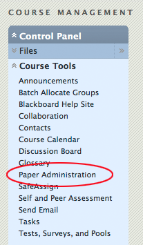 Paper Administration in the Blackboard Control Panel