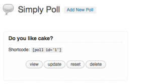 Screenshot of shortcodes for polls