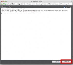 Html Code View from Blackboard